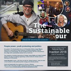 Half way through the National Recycling Week, our guest in The Sustainable Hour on 14 November 2018 is singer Wayne Jury who is also head of waste reduction at Queenscliff Music Festival, coming up… School Strike, Live On Air, Waste Reduction, 14 November, Climate Action, Power To The People, Explain Why, Organising, Sustainability