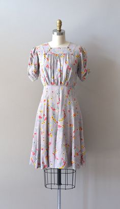vintage 1930s dress / silk 30s dress / Sweet Thursday dress