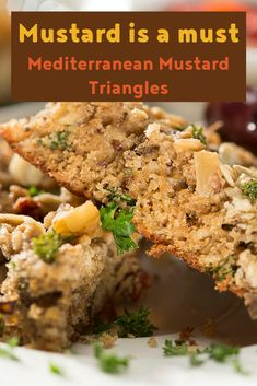 Mediterranean Mustard triangles can be served as a snack or with soup, salad or cheese. Potluck Recipes, Great Recipes, Snack Recipes, Grainy Mustard, How To Dry Oregano, Yummy Snacks, Serving Size, Triangles, Easy Meals