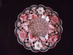 Hand Crocheted Doily - BRAND NEW!  FLOWERS AND BUTTERFLIES   lam58lam