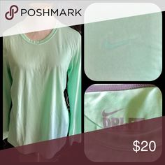 Nike Mint green long sleeve dri-fit shirt Nike dri fit shirt. Worn once Tops Tees - Long Sleeve