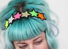 Neon and Metallic Stars Headband, Light Gold, Neon Green, Neon Pink, Neon Yellow by Janine Basil at Folksy.com