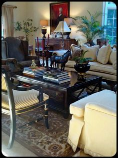 love this living room setting . . . especially the horse!!!!