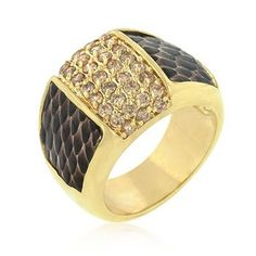 18k Gold Plated Pave Pink Cubic Zirconia Cocktail Ring with Snake-inspired Brushed Scales Along Ring Shank Polished into a Lustrous Goldtone Finish