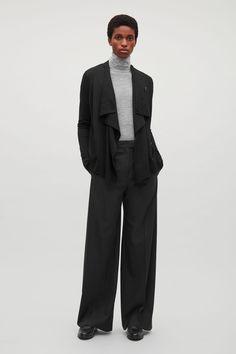 COS image 1 of Draped merino-wool cardigan  in Black