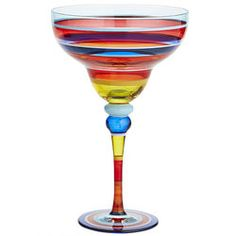 Festive Stripes Painted Margarita Glass