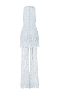 Lace And Double Georgette Tiered Jumpsuit by ELIE SAAB for Preorder on Moda Operandi
