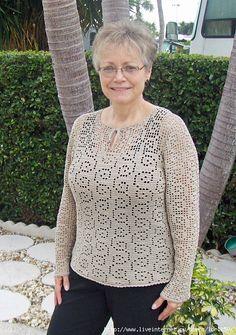 Beautiful sirloin pullover !!!. Discussion on LiveInternet - Russian Online Diary Service Irish Crochet Patterns, Knitting Patterns, Filet Crochet, Crochet Top, Summer Wear For Ladies, Crochet Woman, Crochet Cardigan, Vintage Crochet, Top Pattern