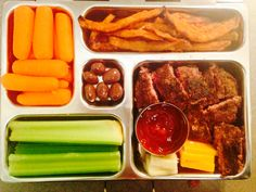 Work lunch planet lunch box- celery, carrots, sweet potato fries, hamburger steak, cheese