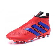 2016 Adidas Ace16+ Purecontrol FG-AG Botas De Futbol Rojo Azul 5b1330214e1c2