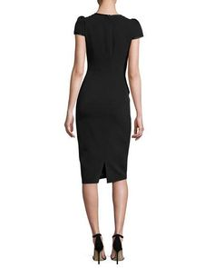 Cap-Sleeve Crepe Satin-Trim Sheath Dress, Black