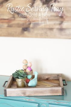 Rustic Serving Tray with Gold Arrow Accent