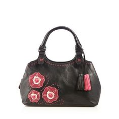 The Collection Black leather pansy grab bag- | Debenhams