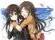 2girls blush brown_hair green_eyes hug idolmaster idolmaster_cinderella_girls long_hair mitsuki petals shibuya_rin shimamura_uzuki