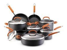 Rachael Ray Hard Anodized Nonstick 14Piece Cookware Set Orange >>> You can find more details by visiting the image link.