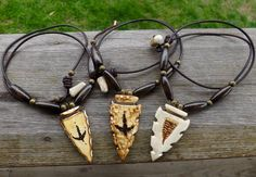 Choice of Arrow Head Deer Antler Necklace with by Bobsantlercrafts