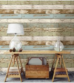 Old Salem Vintage Wood Peel and Stick Wallpaper Adding a wood feature wall to your home has never been easier. This peel and stick wallpaper is easy to use and won't harm your walls. Stick On Wood Wall, Peel And Stick Wood, Faux Wood Wall, Distressed Wood Wall, Shiplap Wood, Weathered Wood, Rustic Wood, Wood Wall Design, Palette Diy