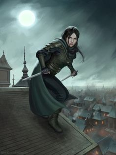 f Rogue Thief Leather Armor Cloak Dual Daggers female Night Roof top full moon story human character inspiration DnD Pathfinder fantasy gaming lg Fantasy Warrior, Fantasy Rpg, Medieval Fantasy, Fantasy Artwork, Dark Fantasy, Fantasy Character Design, Character Concept, Character Inspiration, Character Art