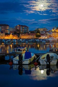 Moonrise In Karlskrona, Sweden