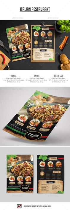 Italian Restaurant Flyer — Photoshop PSD #italian menu #brochure • Download ➝ https://graphicriver.net/item/italian-restaurant-flyer/18945477?ref=pxcr