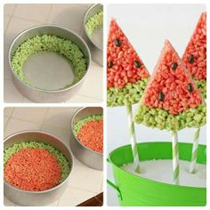 Watermelon rice crispy treat