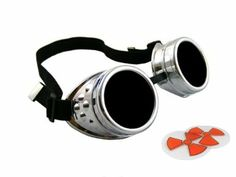 CyberloxShop® Cyber Goggles Metallic Silver Steam Punk Rave Goth - Includes FREE set of Exclusive CyberloxShop® Lense Design Inserts: Amazon...