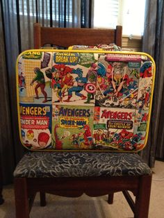 Vintage Luggage: Marvel Avengers Comic Luggage, Decoupage, Ready for travel or as decoration