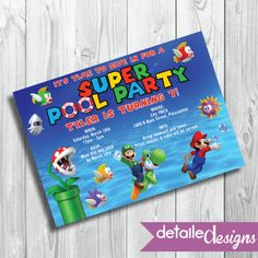 SUPER MARIO BROS Pool Party Invitation Birthday Kid's