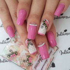 Best Nail Art Designs 2018 Every Girls Will Love These trendy Nails ideas would gain you amazing compliments. Check out our gallery for more ideas these are trendy this year. Different Nail Designs, Best Nail Art Designs, Beautiful Nail Designs, Pink Nail Art, Pink Nails, My Nails, Fancy Nails, Trendy Nails, Easy Nail Art