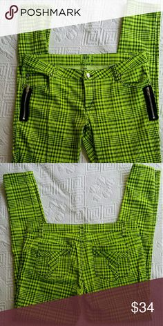 DAANG GOODMAN TRIPP NYC SKINNY DAANG GOODMAN TRIPP NYC  classic plaid pant. Classic 5pocket skinny fit with all over black and green print t-back pockets,skull rivets,zip fly & button closure. Zippers at both front pockets. 30in.long 53%cotton 44%poly, 3%SPANDEX . BRAND NEW CONDITION Tripp nyc Jeans Skinny