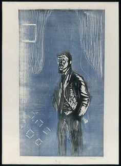 Edvard Munch / Self-Portrait in Moonlight / 1904–06 / Woodcut printed from one block in blue and black ink on cream wove paper