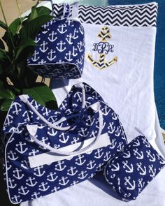 4 Pc.  Anchors Away with this Super Set  by GebbiesEmbroidery, $105.95