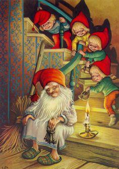 Lars Carlsson gnomes modern Rare new postcard Vintage Christmas Images, Christmas Pictures, Christmas Art, Illustration Noel, Christmas Illustration, Leprechaun, Vintage Cards, Vintage Postcards, Images Noêl Vintages