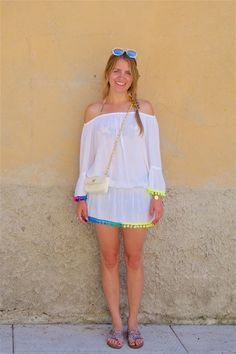 Heartfelt Hunt - Rainbow Pompons - Top with rainbow pompons, denim shorts, bikini, sunglasses, vintage Chanel bag, glitter sandals and blond side braid