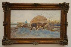 Original-Antique-1800s-Dutch-Painting-of-Cows-in-a-Pastoral-Farming-Landscape-NR