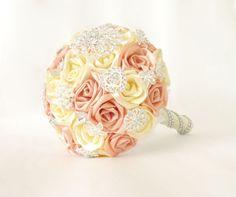 Satin ribbon wedding bouquet creamy and peach by PandoraSlovakia