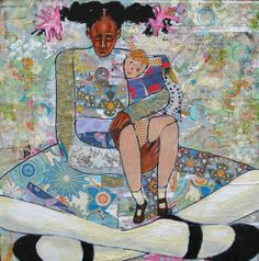 """""""Child's Play"""" 16X16 Mixed Media Collage by Artist April Harrison."""