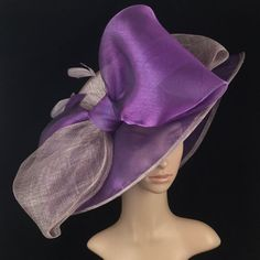 Church Dress Purple Sinamay and Silk Wide Brim Kentucky Derby Hat Church Hat Bridal Wedding H. Purple Sinamay and Silk Wide Brim Kentucky Derby Hat Church Hat Bridal Wedding Hat Dress Hat Tea Party Hat Rose Hat, Rose Headband, Fit And Flare, Turban, Tea Party Hats, Wide-brim Hat, Women's Hats, Kentucky Derby Hats, Church Hats
