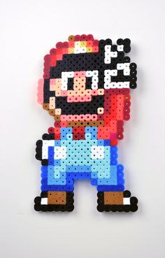 Perler Bead Magnet Super Nintendo Super Mario by TheCraftyChimera