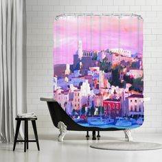 Markus Bleichner Mattoon Ibiza Old Town and Harbour Pearl of the Mediterranean Shower Curtain