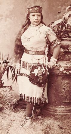 Studio portrait of Sarah Winnemucca (1844-1891), by Elmer Chickering, c. 1883, as part of publicity for her lectures in Boston, Mass.. She was the daughter of Chief Winnemucca, the chief of the Paiutes. (Original picture)