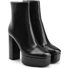 Alexander Wang Leather Platform Ankle Boots (42.425 RUB) ❤ liked on Polyvore featuring shoes, boots, ankle booties, обувь, black, platform ankle boots, high heel booties, platform booties, ankle boots and black ankle booties