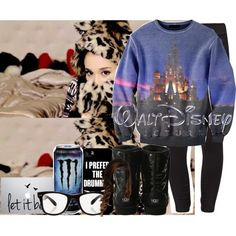 OOTN by cortney-hudson on Polyvore featuring polyvore fashion style Puma UGG Australia All Day Samsung Disney