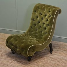 UNUSUAL VICTORIAN UPHOLSTERED ANTIQUE SLIPPER SIDE CHAIR