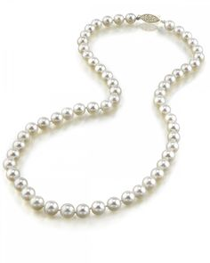 14K Gold 6.0-6.5mm Japanese Akoya White Cultured Pearl Necklace - AA+ Quality, 16 Inch Choker Length. All Akoya Pearls are directly imported from the pearl farms of Japan. Our pearls represent the finest in pearl selection, hand picked for its luster, quality, color, and cleanliness. Each Necklace is affixed with the highest quality 14K gold clasp. The option is given to select either white or yellow gold based on your preferences. Only the most elegant jewelry boxes are used to package…