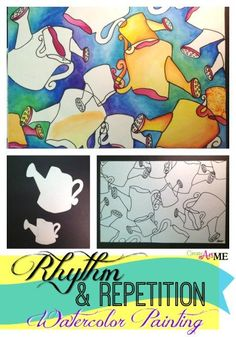 Rhythm Repetition Watercolor Painting Art lesson - Principle of Art