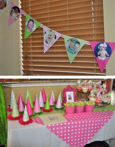 Photo banner for birthday and photo cupcake ... make flags out of polka dot paper, add a cupcake cutout indicating month pic was taken?