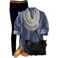Hello Fall! I'd probably switch out the flats for boots with some cute tall socks & wear a white tank top under a logger style flannel instead of the denim one.