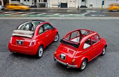 Fiat 500 convertible now and then
