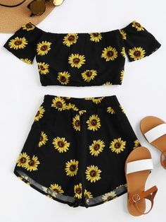 Shop Bardot Sunflower Print Crop Top And Shorts Set online. SheIn offers Bardot Sunflower Print Crop Top And Shorts Set & more to fit your fashionable needs. Teen Fashion Outfits, Outfits For Teens, Girl Fashion, Girl Outfits, Cute Casual Outfits, Cute Summer Outfits, Casual Summer, Summer Dresses, Mode Turban